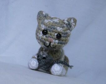 Callie the Crouching Calico Kitty - crochet, amigurumi, cat, kitten, stuffed toy
