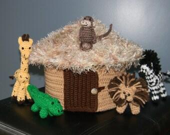 African Hut Play Set with 5 animals - Amigurumi, Crochet, plush, stuffed animals