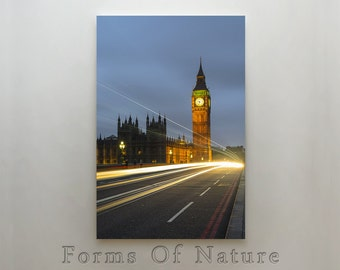 Big Ben canvas print, London, UK, Lighttrails, night photography, long exposure, city lights, FineArt Photograph,Canvas Wall Art,Wall Decor