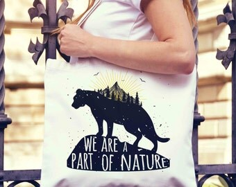 We Are Part of Nature Tote Bag | Shopping Bag | Reusable Market Bag | Birthday Gift For Her & Him | Shopper Bag | Beach Grocery Bag