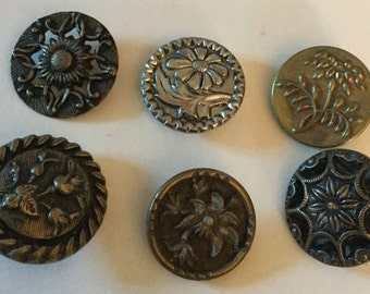 Lot 6 Antique Flower Floral Medium Metal Old Picture buttons Variety