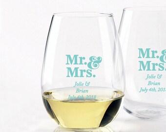Mr & Mrs - Robin's Egg Blue - Stemless Wine Glass 9oz (12pcs)