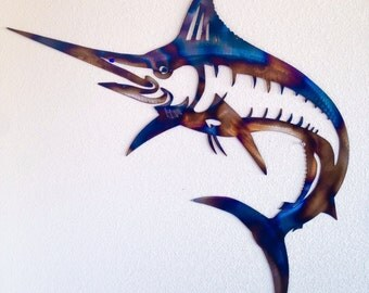 2ft tall steel swordfish