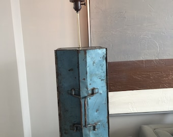 Vintage Slate Blue Tool Box Lamp