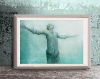 original painting, man,dreamy digital ,figure painting, blue,