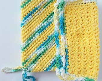 Crochet Cotton Potholder and Dishcloth Set