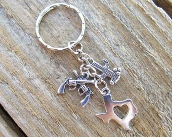 Texas Keychain, Cactus Keychain, State of Texas Keychain, Pistol Keychain, Gun Keychain, Country Girl Keychain.