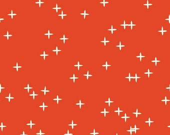 Clearance On Sale!!! Birch Fabric Organic Quilting Cotton Wink in Tomato Mod Basics 3, Stars, Red, Modern Fabric, Modern Quilt