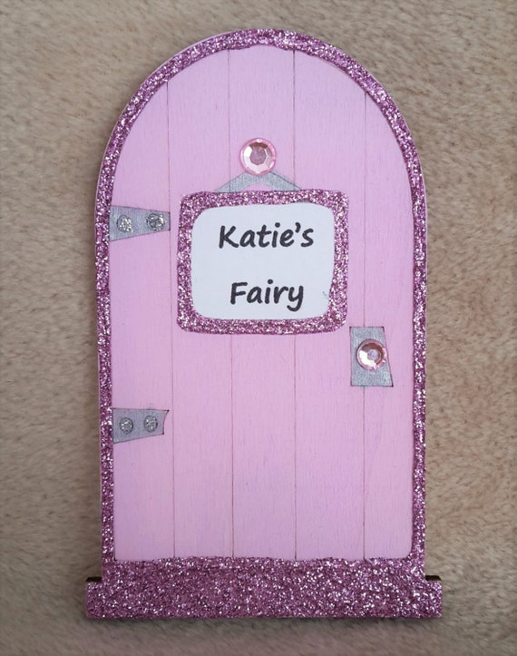 Fairy door personalised wooden baby pink fairy door for Pink fairy door