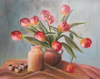 Still Life flowers oil painting signed