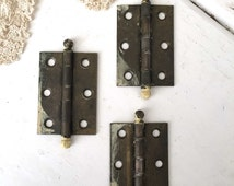 3 Ball Top Cabinet Hinges, Vintage Hinges, Antique Hinges, Small Metal Hinges, Vintage Hardware, Architectural Salvage