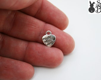 50 x Made with Love Heart Charms  FREE SHIPPING