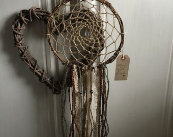 Handmade Vintage Country Shabby Chic, Lace Twig Dreamcatcher Garden Wind Chime