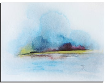 "Original Watercolor painting, Abstract Painting, Landscape painting, wall art, Art Painting Watercolor, Modern Art 10""X8"" by Tatjana Ruzin"