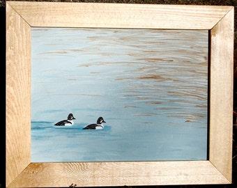 Goldeneye Duck Acrylic Painting