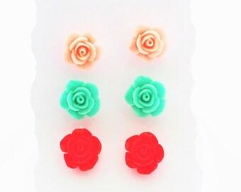 Set Of 3 Pairs of Handmade Blossom Flower Rose Resin Stud Earrings