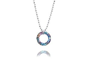SWAROVSKI Crystal / Mini Cosmic Ring / Round Pendant /Circle Pendant / Sterling Silver Necklace / Pendant / Light Vitrail