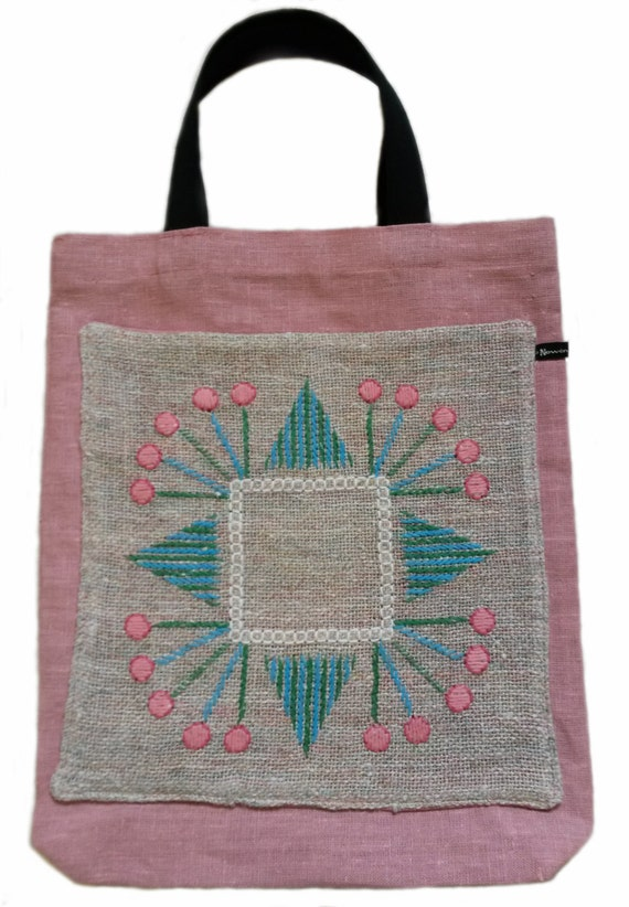Linen market bag/shopping bag/tote bag with vintage embroidery