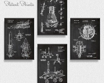 Space Ships Patents Set of 4 Prints, Space Ships Prints, Space Ships Posters, Space Ships Blueprints, Space Ships Art, Space Ships Wall Art