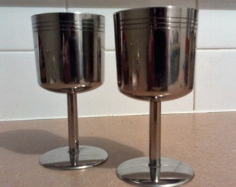 Pair of Stainless Steel Goblets - Picnics, BBQs,Poolside, Beach