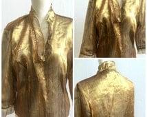 Gold shirt, crepe shirt, jacket, thin jacket , 70s shirt, frilly shirt, gold crepe, MERRYTIME shirt, 1970s disco shirt, 70s disco,party