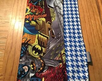 Batman on Blue Houndstooth Pocket Square Hanky