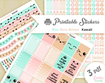 Kawaii pink, blue, beige | Printable stickers  | 3 pdf | Instant download | Planner, Happy planner