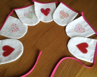Handmade Mini Appliquéd Heart Bunting Zakka Style 100% Cotton Double Sided