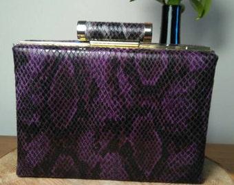 Faux snakeskin box clutch bag