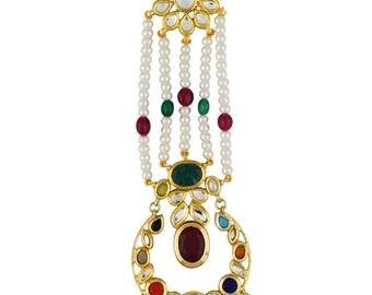 Alyza Pearls navratan gems jhumar with real natural pearls