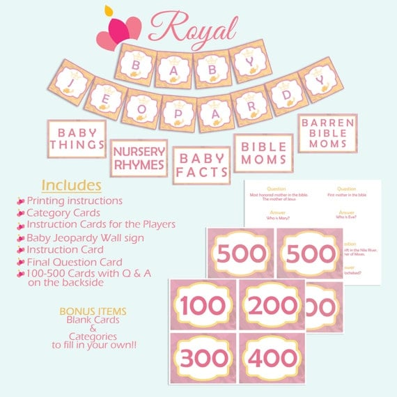 Royal Baby Shower Jeopardy By Blissfulimaging On Etsy