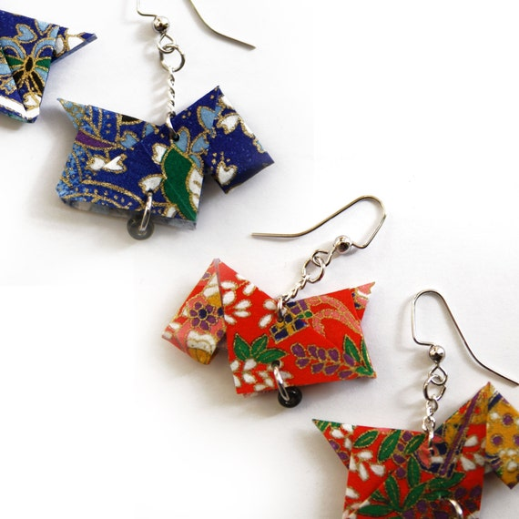 Wholesale Earrings / 50 PAIR / Origami Scottie Dog Earrings / Nickel Free / Dangling Earring / Origami Jewelry