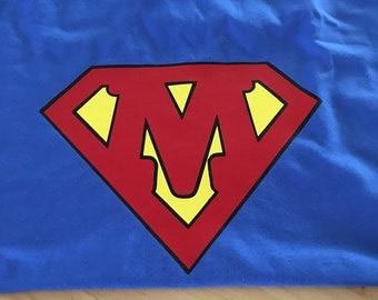 Superman inspired shirt with custom letter!! Superhero, custom superman