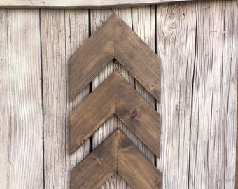 Free Shipping~Chevron Arrows Dark Walnut Stain Set of 3