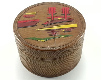 Asian Coaster Set Wood Hand Painted 8 Coasters