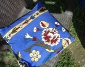 COTTON*PİLLOW*RUSTİC*home decor*chic*floral*fasıon*gift idea*for garden*for summer*blue pillow