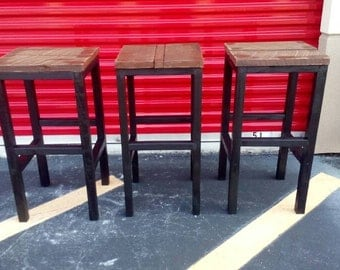 Reclaimed Wood Rustic Barstools