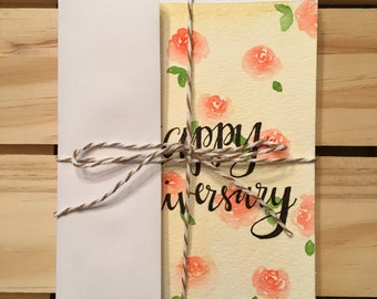 Watercolor Anniversary & Wedding Card Set of 4
