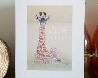 Welcome Little one design greetings card from my original acrylic painting design - personalised printing