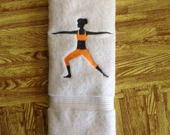 Embroidered Personalized/customized YOGA warrior pose workout hand towel, bath towel, sweat towel.100% cotton. Sports Towel