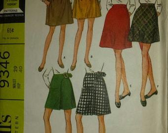 1968 McCalls womens waist 29m, hip 40 skirt pattern, three sets in 2 lengths, 9346