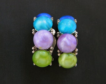 """Vintage Curved Pastel Stone Clip On Earrings Multi Color Silver Tone 1.25"""""""