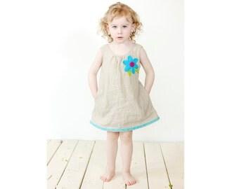 Linen girl dress - Girl summer dress - Flower decorated dress - Toddler girl dress -  Baptism girl dress - Ring bearer dress - 2015PV-073