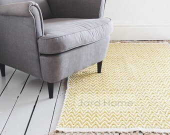 Mustard Yellow Geometric Chevron Rug / Handwoven Cotton  / The Kara