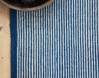 Blue Stripe Rug / Handwoven Cotton / The Biret