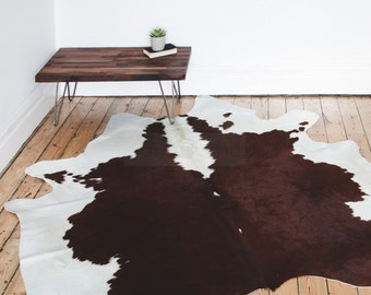 Cowhide Chocolate Rug / Deep Brown & Cream Tones / The Mare