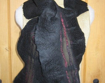 Black Wool and Silk Hand Felted Scarf
