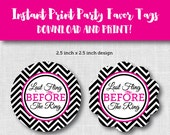 """INSTANT PRINT Bachelorette Party Tags """"Last Fling Before the Ring"""" 2.5 x 2.5 inches"""