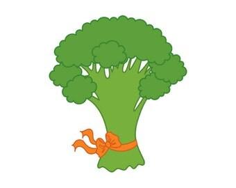 Broccoli Clipart - Digital Vector Broccoli, Green Broccoli, Harvest, Garden, Vegetable, Broccoli Clip Art for Personal and Commercial Use