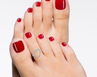 Heart Toe Ring Foot Jewelry Adjustable 925 Sterling Silver CZ Diamond
